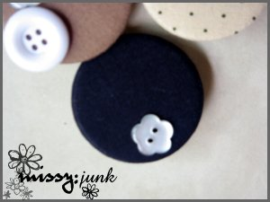Blue button Brooch/Badge