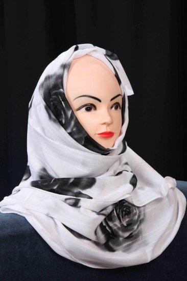 Black and white hijab.