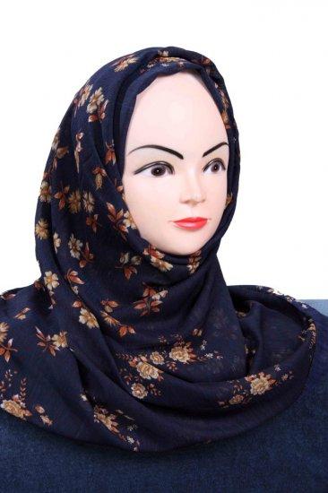 Blue and brown printed hijab.