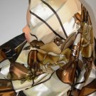 Brown silk hijab