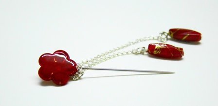 Red flower hijab pin