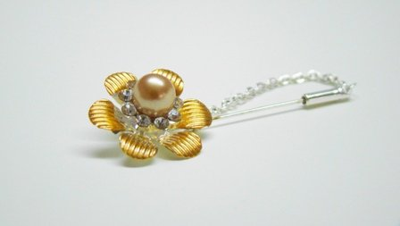 Gold flower hijab pin