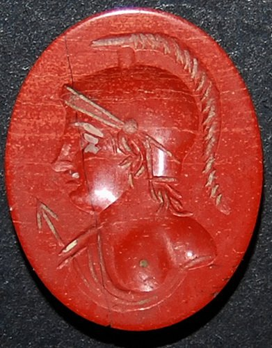 ROMAN RED JASPER INTAGLIO OF MINERVA