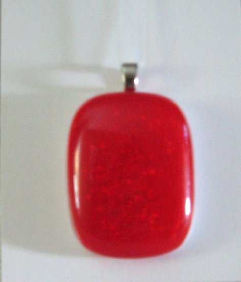 Dichro-red Pendant - Handmade Fused Glass