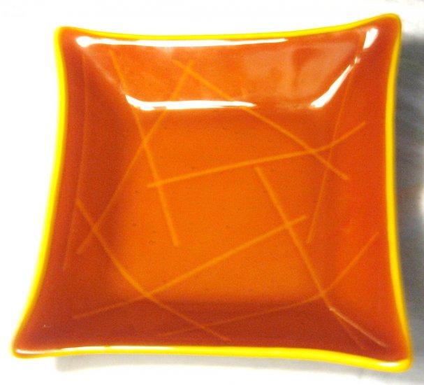 Orange Sinker Dish - Handmade Fused Glass