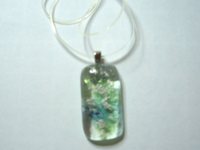Moss and Mica Pendant - Handmade Fused Glass