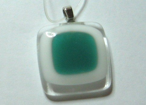 Green Window Pendant - Handmade Fused Glass