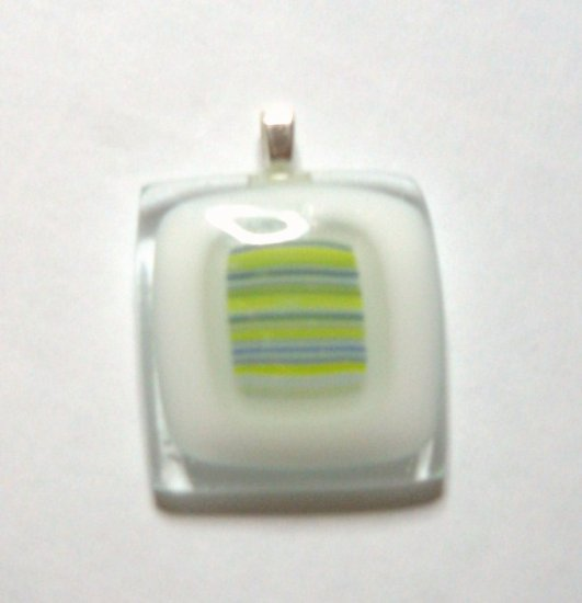 White Stripes Pendant - Handmade Fused Glass