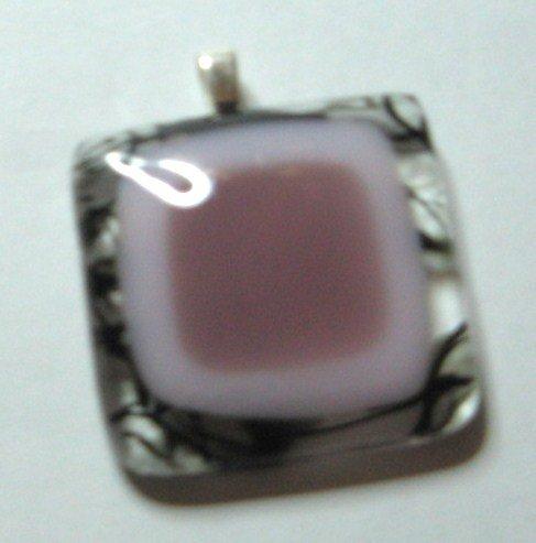 Pink Poker Pendant - Handmade Fused Glass