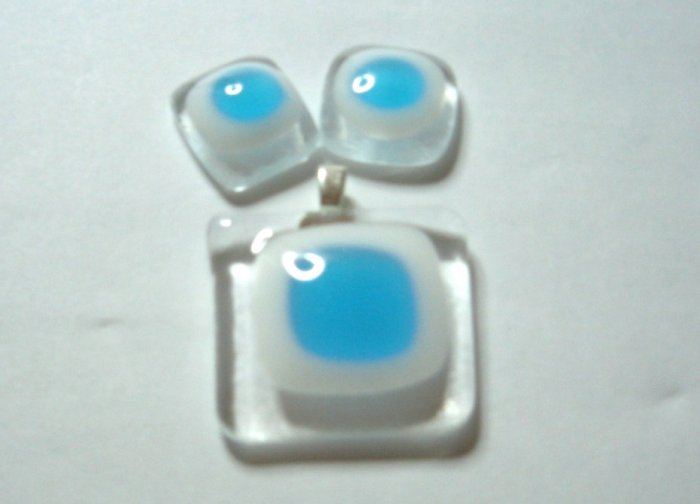 Blue Window Pendant and Earrings - Handmade Fused Glass