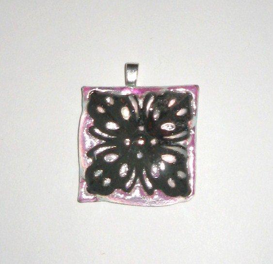 Garden Gate Dichroic Pendant - Handmade Fused Glass