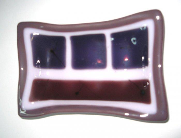 Plum Soap Dish - Handmade Fused Glass