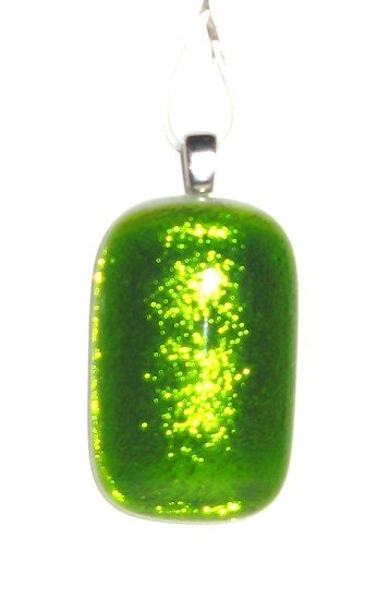 Reflections Green Pendant - Handmade Fused Glass