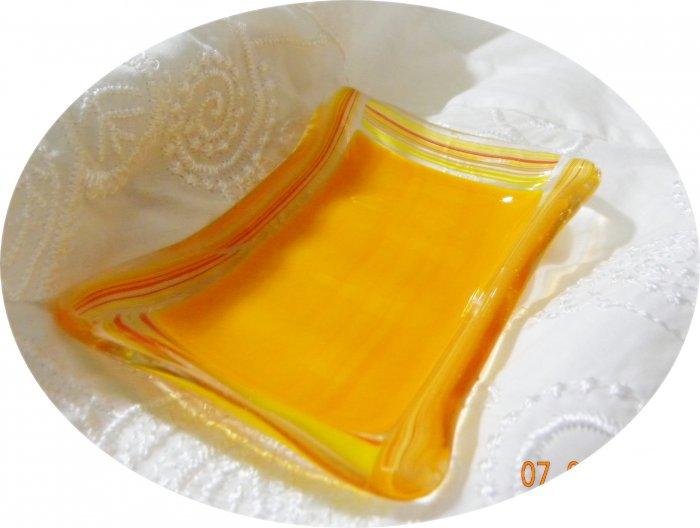 Orange Soap Dish - Handmade Fused Glass