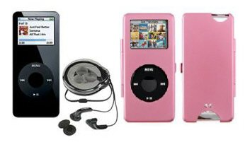 iPod Nano 1GB Mp3 Player + Pink Metal Case