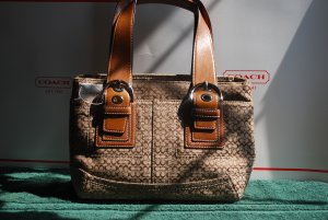 Coach-Soho Cloth Minisig Tote:  Khaki/Toffee (MSRP)$328.00  **Save $128.00**