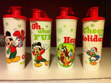 Tupperware SoccerHolidays Sport Water Bottles Tumbler Pour Spout 16oz New Rare