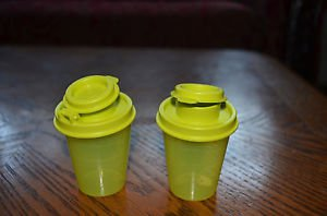 Tupperware personal salt and pepper shaker set of FOUR- Margarita /lime green