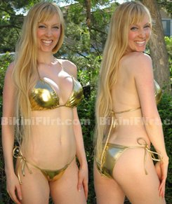 SEXY GOLD METALLIC BIKINI, TIE RIO BOTTOM, NEW