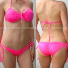 HOT PINK BIKINI, HALTER TOP & SCRUNCHY RIO BOTTOM, NEW