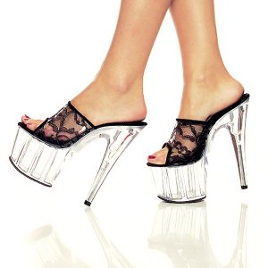 NEW SEXY BLACK LACE CLEAR HIGH HEELS PLATFORMS SLIDES - SIZE 8
