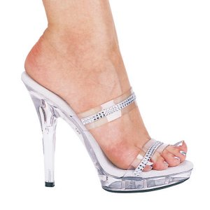 NEW SEXY CLEAR RHINESTONE DOUBLE STRAP PLATFORM SLIDES - SIZE 8