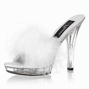 NEW SEXY WHITE STILETTO HEELS PLATFORM SLIDE SLIPPERS - SIZE 10