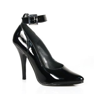 NEW SEXY BLACK PATENT ANKLE STRAP 5 IN PUMPS - SIZE 10 or SIZE 16
