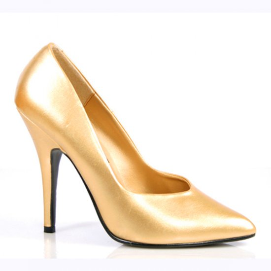 NEW SEXY GOLD P/U CLASSIC PUMPS W/ 5 INCH HEEL - SIZE 10