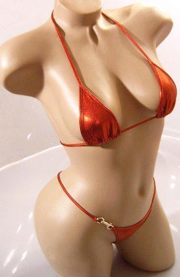 SEXY CLUB DANCER RED METALLIC BIKINI BRA  & LANYARD THONG - ONE SIZE