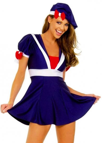SEXY NAUGHTY SCHOOL GIRL COSTUME W/ BERET & MINI DRESS - SIZE M