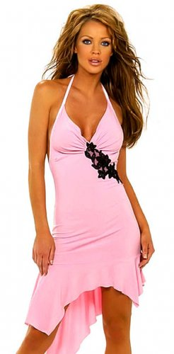SEXY PINK HALTER BEADED CLUB COCKTAIL DRESS & G-STRING