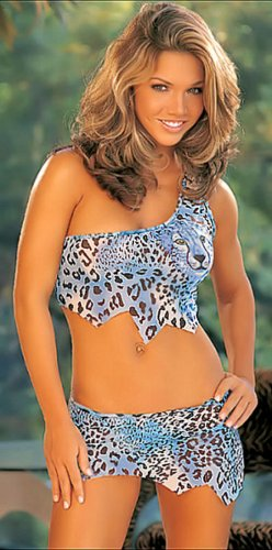 SEXY JUNGLE GIRL TURQUOISE LEOPARD CROP CAMI & SKIRTINI W/ THONG - SZ MEDIUM