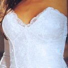 SEXY BRIDE BRIDAL WHITE SATIN & SEQUIN STRAPLESS BUSTIER & THONG - SIZE32 or SIZE 36