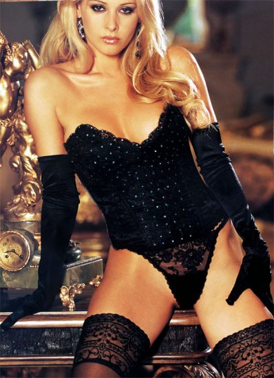 SEXY BLACK SEQUIN SATIN & LACE STRAPLESS BUSTIER & THONG* SZ 34 *SZ 36 or *SZ 38