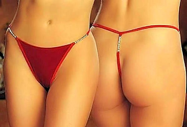 SEXY VALENTINE RED VELVET LOW RISE RHINESTONE THONG - ONE SIZE