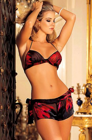 SEXY RED & BLACK SILK HALTER CAMI & LOW RISE BOY SHORTS - SMALL or LARGE