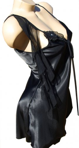 SEXY BLACK SATIN CHARMEUSE & CHIFFON CHEMISE - SMALL *LARGE or  X-LARGE