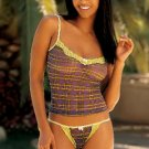 SEXY LIME & PURPLE PLAID MESH & LACE CAMI & THONG - SZ SMALL or SZ MEDIUM
