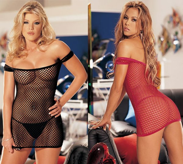 SEXY RED FISHNET CHEMISE & G-STRING - ONE SIZE