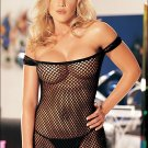 SEXY BLACK FISHNET CHEMISE & G-STRING SET - ONE SIZE