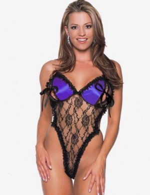 SEXY BLACK LACE & PURPLE SATIN OPEN CUPS THONG BACK TEDDY BARE - PLUS