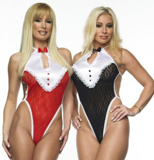 SEXY BLACK or RED & WHITE TUXEDO THONG BACK TEDDY BARE - ONE SIZE
