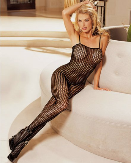 SEXY BLACK SHEER HONEYCOMB FISHNET OPEN CROTCH BODY STOCKING - ONE SIZE
