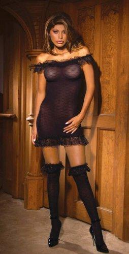 SEXY BLACK NYLON DRESS W/ RUFFLE LACE TOP & STOCKINGS
