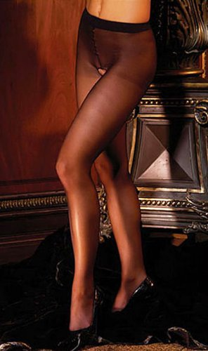 SHEER & SEXY NYLON CROTCHLESS PANTYHOSE* BLACK *WHITE or NUDE - PLUS - QUEEN