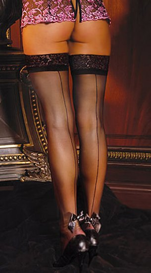 SEXY WHITE THIGH-HIGH LACE TOP BACK SEAM STOCKINGS - PLUS