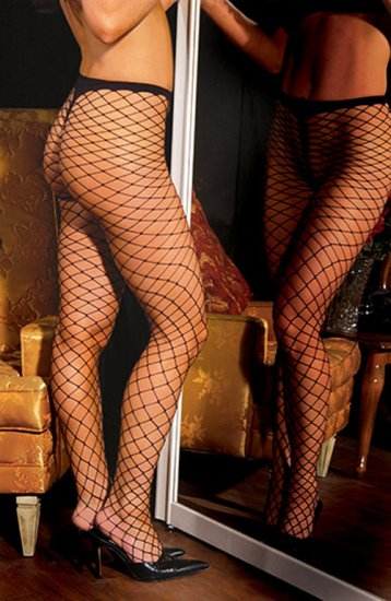 SEXY SHEER BLACK NYLON SPANDEX DIAMOND NET PANTYHOSE - ONE SIZE