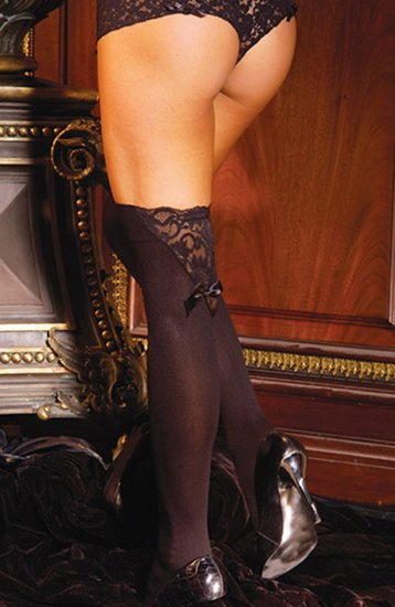 SEXY BLACK OR WHITE THIGH-HIGH STOCKINGS W/ BOW & SATIN TRIM - ONE SIZE