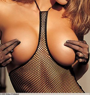 SEXY RED or BLACK FISHNET OPEN BUST CAMI *GSTRING & LACE TOP STOCKINGS - ONE SIZE